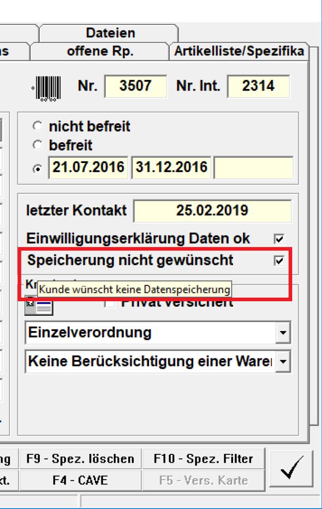 Speicherung Kundendaten nicht gewünscht