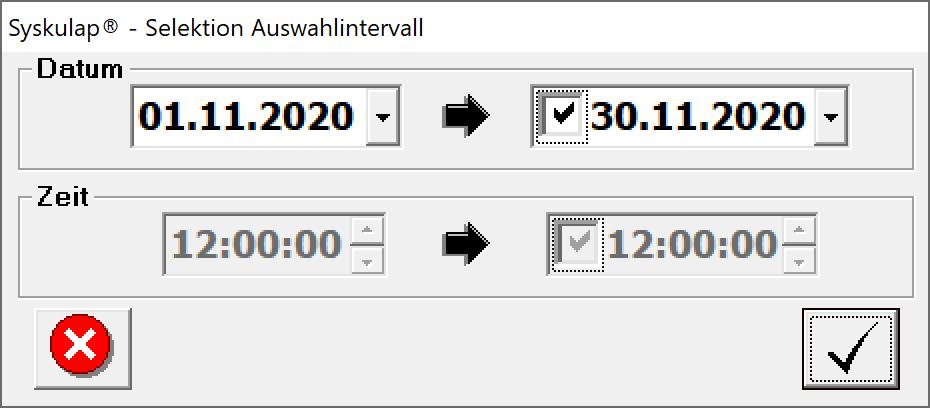 Auswahl Datumsintervall